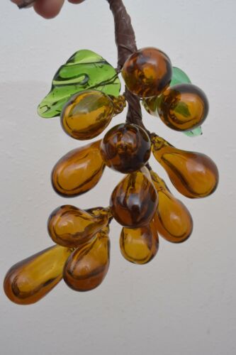 Vintage Hand Blown Glass Amber Grape w/ Leaves Clusters Mid Century Modern Japan