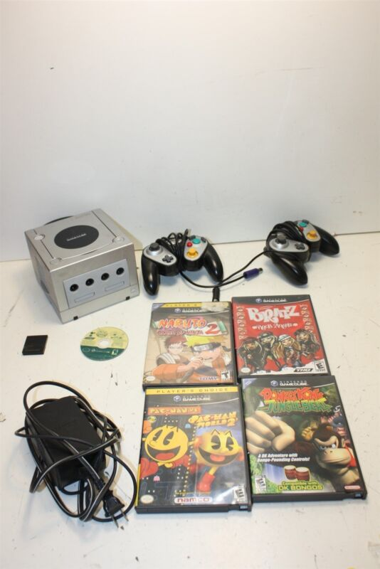 Nintendo GameCube DOL-101 Silver Console Bundle w/ 5 Games - Naruto Tested/Works