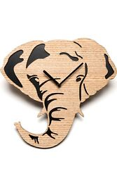 Driini Wooden Elephant Wall Clock Made from Real Wood Veneer – A great gift!