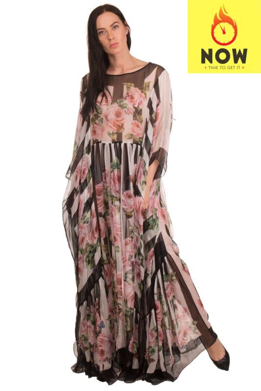 RRP €2485 DOLCE & GABBANA Silk Maxi Kaftan Dress Size IT 42 / S Striped Roses