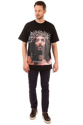 RRP€215 IH NOM UH NIT T-Shirt Top Size L Coated Jesus Short Sleeve Made in Italy