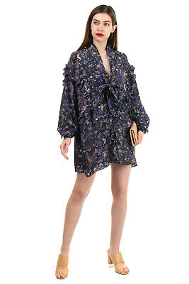 RRP €620 IRO Silk Crepe Flared Dress Size 36 S Unlined Ruffle Bow Printed V Neck