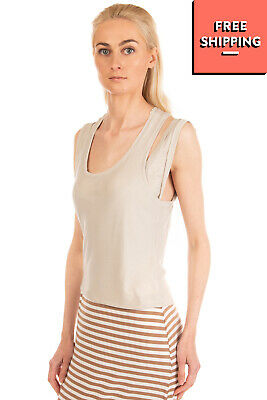 FIRST AID TO THE INJURED Vest Top Size 1 Grey Layered Sleeveless Scoop Neck