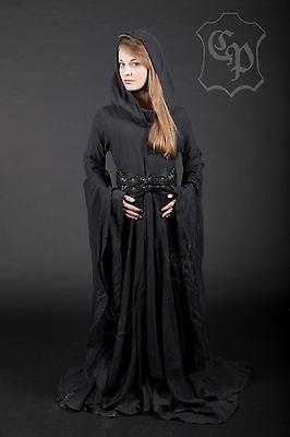 Schwarze Fee Kleid (Kleid Prinzessin Fee Elfe Mittelalter LARP 100% Leinen Farbe schwarz M-XXL)