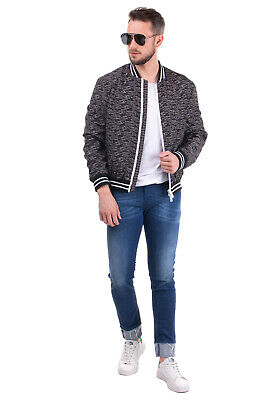 RRP€315 LES HOMMES URBAN Bomber Jacket Size 52 / XL Arrows Pattern Made in Italy