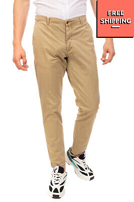 BRIGLIA 1949 Chino Trousers Size 38 / 52 Stretch Beige Worn Look Made in Italy