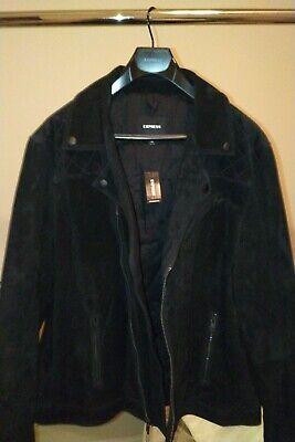 Genuine Suede Leather Jacket Biker Moto Bomber Coat Express Men ALL SAINTS BLACK