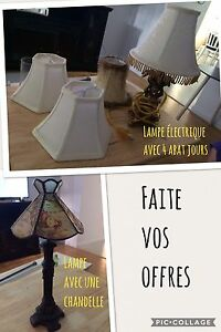 Lampes,coussins,cadre,camera,divers