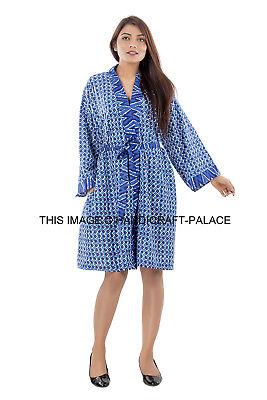 Corto Bata Novia Dama Honor Kimono Algodón Vestido Pijama Aderezo Azul Albornoz