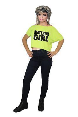 Womens 1980s Neon Yellow Material Girl Madonna 80's T-shirt ()