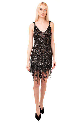 RRP €1340 ATTICO Tulle Cocktail Dress Size 38 / XS Sequins Fringe Hem Scoop Neck