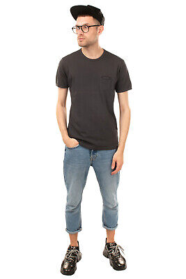 DANIELE ALESSANDRINI GREY T-Shirt Top Size M Chest Pocket Made in Italy