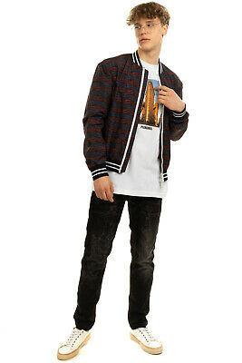 RRP €315 LES HOMMES URBAN Bomber Jacket Size 50 L Scattered Darts Made in Italy
