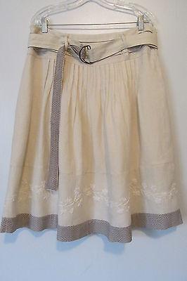 (Stella Forest Beige Embroidered Hem Below Knee Belted Linen Skirt SZ: US 12 )