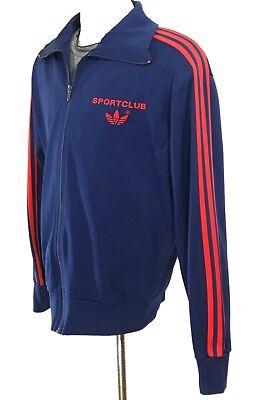 "Adidas VTG 90's Rare ""Sportclub"" Trefoil Navy Track Jacket Sweater sz S"