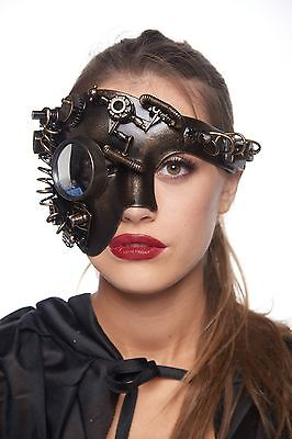 Terminator Inspired Steam Punk Halloween Costume Mask with Bionic Eyepiece Gears