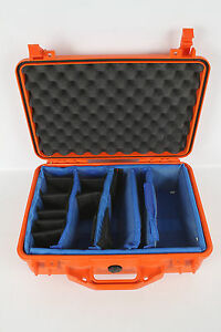 Orange-RETRO-Pelican-1500-Camera-Hard-Case-w-Blue-Dividers-Foam-Lid-18561