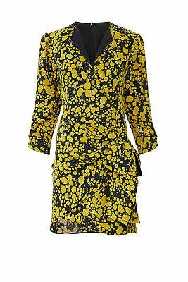 Victoria Victoria Beckham Women's Dress Yellow Size 8 Sheath Floral $745- #930