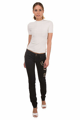 RRP €445 PIERRE BALMAIN Jeans Size 25 Stretch Treated Worn Look Military Patches