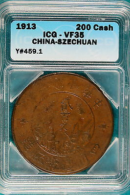 1913 ICG VF35 China-Szechuan 200 Cash Y#459.1!! #B4856
