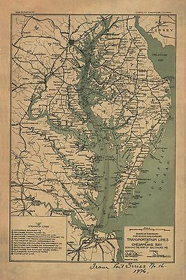 "Chesapeake Bay, Baltimore, MaryLand, 1926 MAP, 24""x16"" Print, antique Decor"