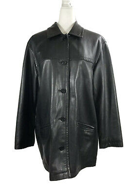 LL Bean Womens Black Lamb Nappa Leather Jacket Coat Button Down 0KW45 Size M