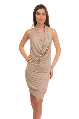 ENTRE AMIS Jersey Wiggle Dress Size M Beige Stretch Draped Made in Italy