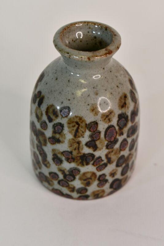 """Vintage Knobler Japan Gray W/ Multicolor Splotch Design Stoneware Bud Vase 3.5"""""""