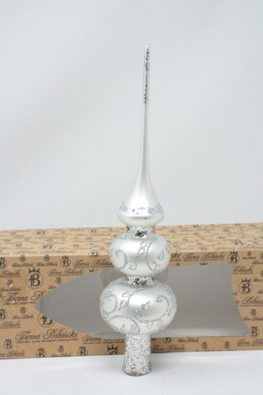 Silver Glittered Firma Bilinski Hand Crafted Glass Finial Christmas Tree Topper