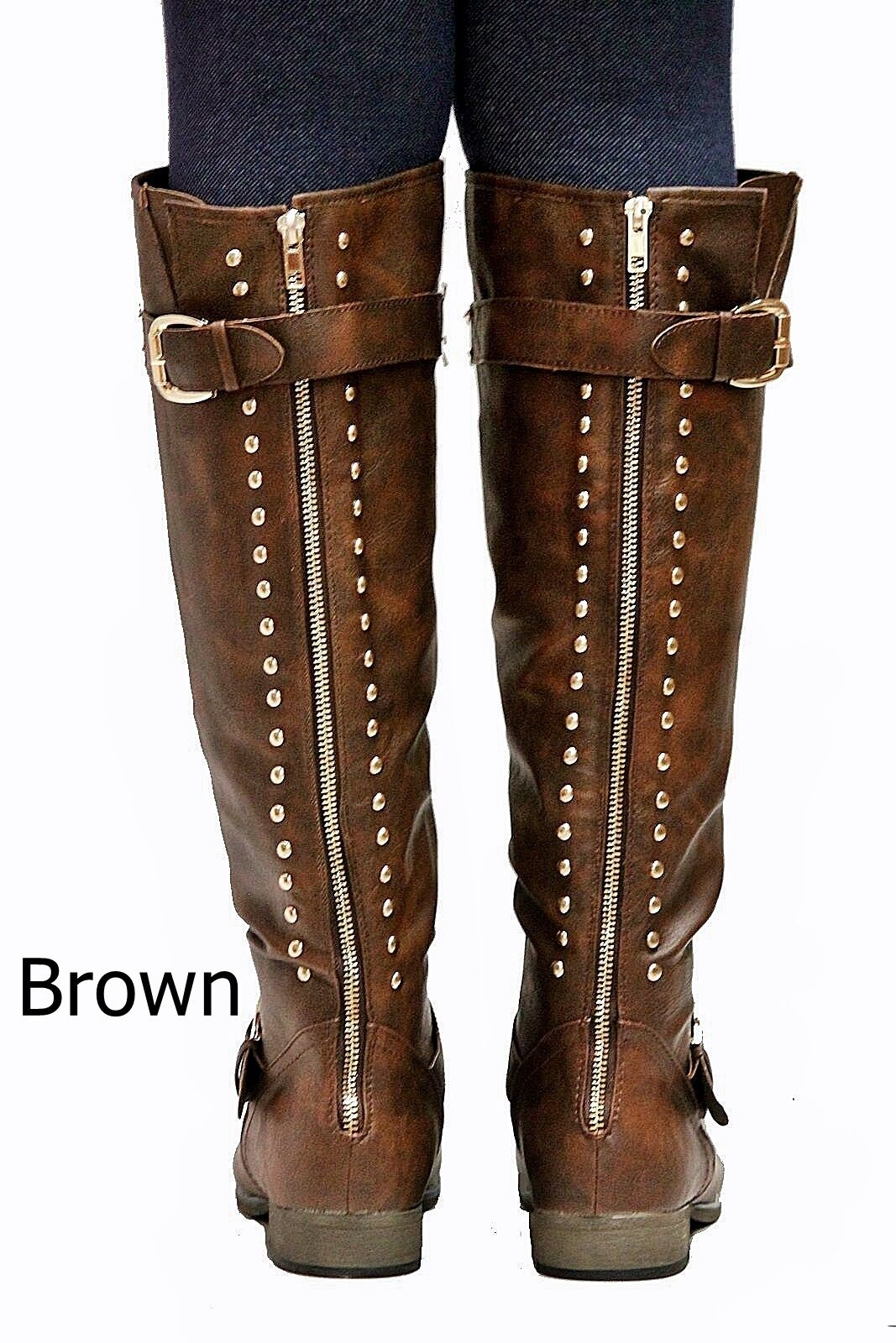 New Women FL23 Tan Black Taupe Brown Gold Studded Riding Knee High Boots