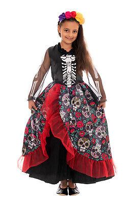 Mexikanischer Skelett Vampir Kostüm Kinder Mädchen Faschingskostüm Vampirkleid