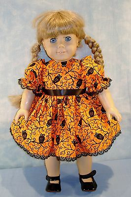 18 Inch Doll Clothes Black Owls on Orange Halloween Dress handmade by Jane Ellen - Ellen On Halloween