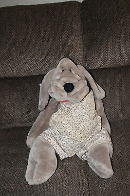 "Wrinkles Ganz Bros. Large Stuffed Dog with clothes 29"" long Hand Puppet Korea"