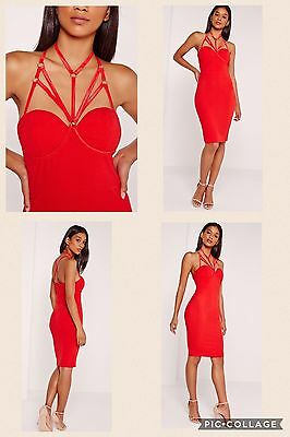 NWT Red Bodycon Fitted Harness Evening Wedding Club Cocktail Party Dress UK 10 ()