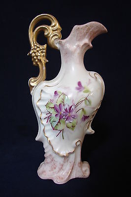 """Antique Victoria Austria Carlsbad EWER / PITCHER with VIOLETS 6.5"""" tall"""