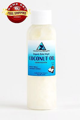COCONUT OIL Extraordinarily VIRGIN UNREFINED ORGANIC CARRIER COLD PRESSED RAW PURE 2 OZ
