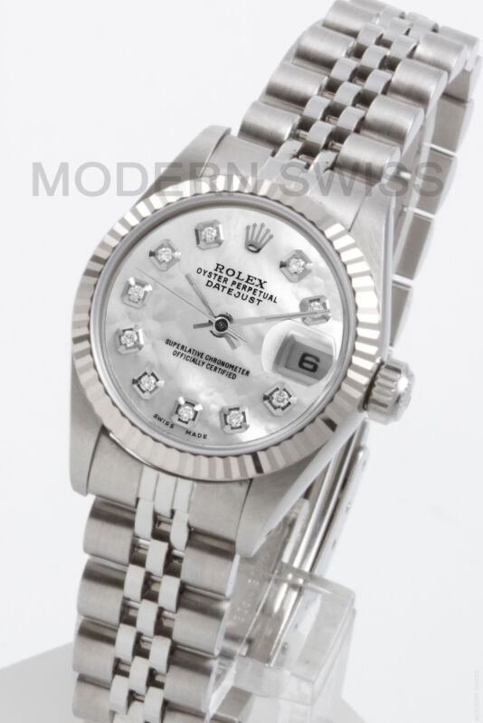 Rolex Ladies Datejust Steel White Mop Diamond 18k Gold Jubilee 69174 Quickset