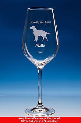 Irish Setter Wine Glass Dog Gift, Personalised Setter Engraved Dog Lover Gift