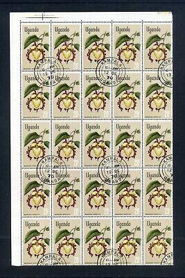 UGANDA 1969-74 Flowers 6 Blks of 25 Chalk surfaced paper SG140-145 Used  Sale