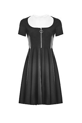 Witchy Witchy (Punk Rave Black Skater Dress Crescent Mesh Moon Nu Goth Witchy)