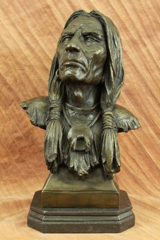 MODERN ART INDIAN BRONZE STATUE ABSTRACT CHIEF HOT CAST WARRIOR SCULPTURE DECOR