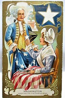 1909 PATRIOTIC POSTCARD WASHINGTON ADOPTING THE FIVE POINTED STAR, FLAG