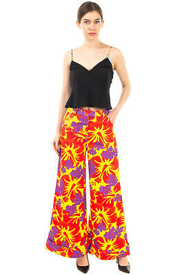 RRP €1140 ROSIE ASSOULIN Trousers Size 4 / S Floral Flare Leg Made in USA