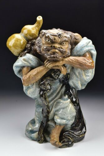 Large Signed Japanese Statue of Man with Gourd and Cane 19th Century
