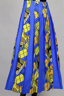 African print blue A-shape, flared skirt  - knee length -