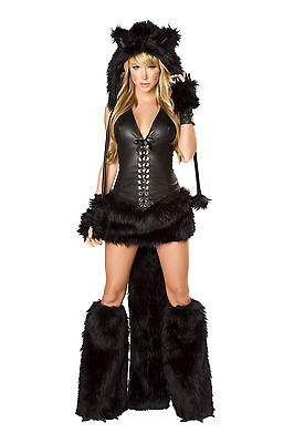 Fur Halter Skirt (J. Valentine Black Cat Halter Corset & Skirt w/ Faux Fur Tail Costume CS118 SALE )