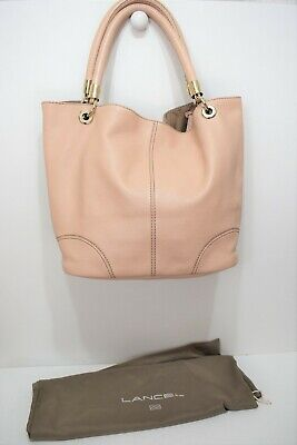 "LANCEL, Sac iconique "" french flair Gm "", en cuir grainé beige rosé"