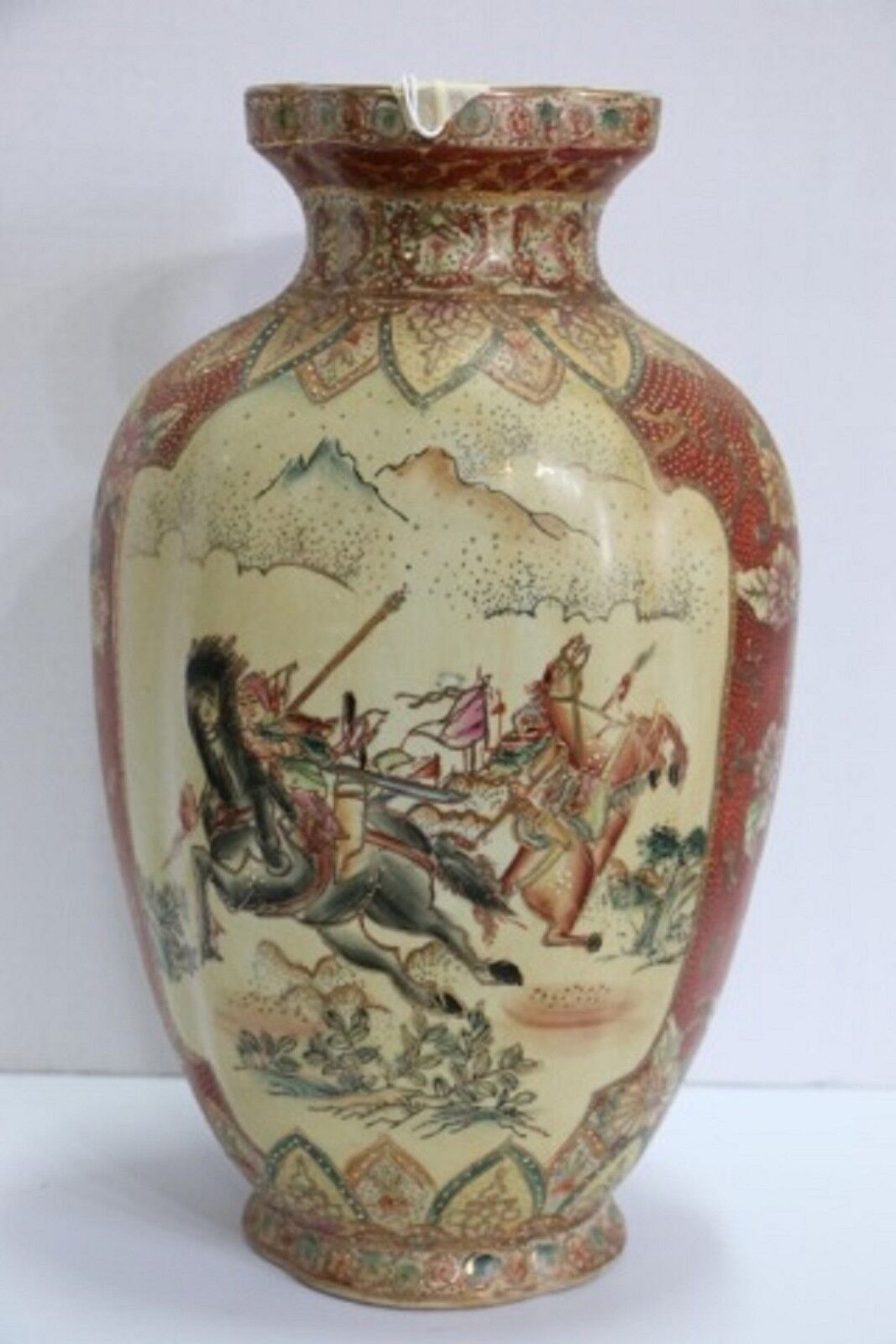 Royal Satsuma Vase Hunting Scene Signed On The Base Made