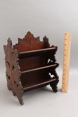 19thC Antique Stereoview Stereoscopic Cards, Carved Walnut Holder NO RESERVE