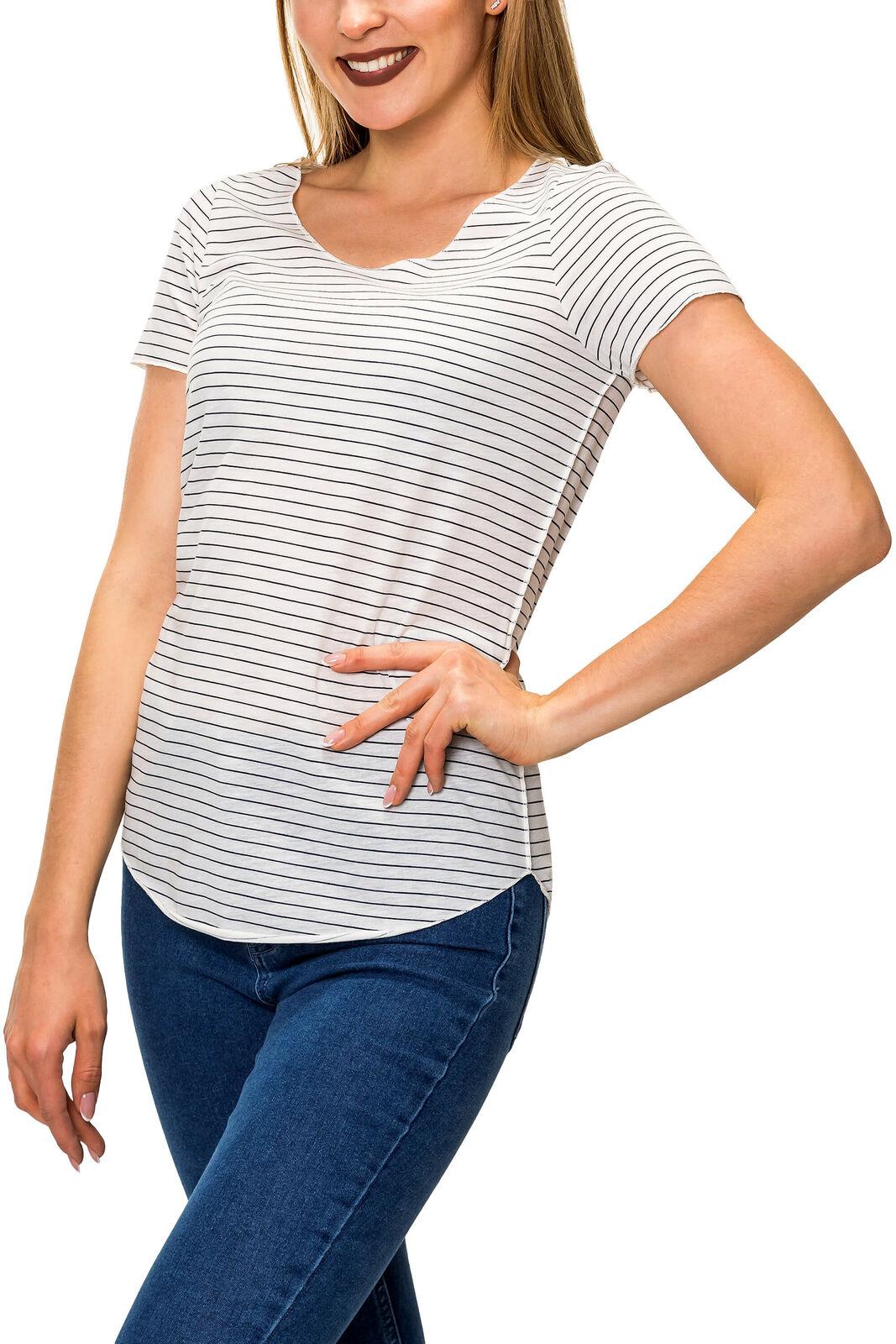 Vero Moda Damen T-Shirt Kurzarmshirt O-Neck Longshirt Stretch Comfy SALE %